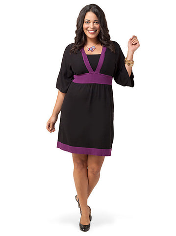 Butterfly-Sleeve Colorblock Empire Dress