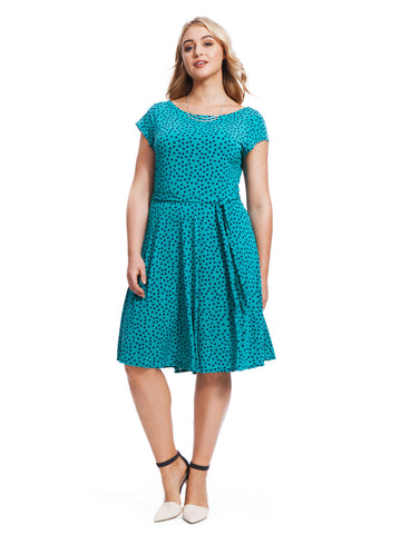 Cap Sleeve Ilana Dress In Jade Dot