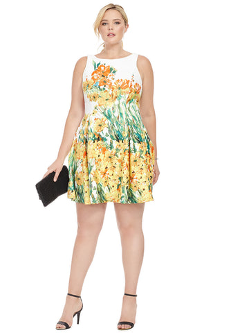 Pleated Dress In Garden Print