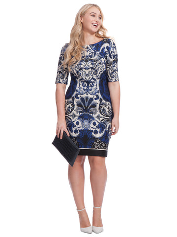 Scuba Dress In Navy Print