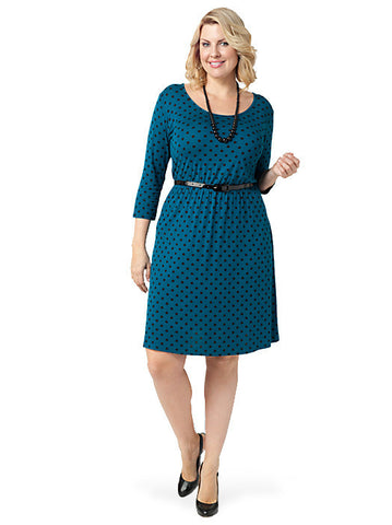 Spot Skater Dress With Patent Belt
