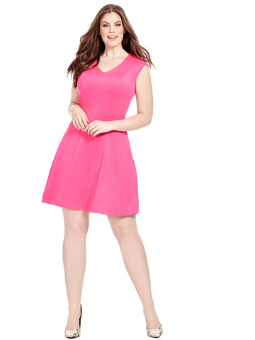 Paneled Dress In Pink