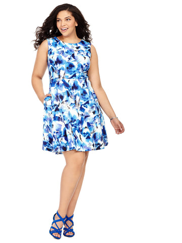 Fit & Flare Dress in Exotic Blue Floral