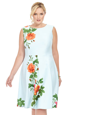 Scuba Dress In Cascading Rose
