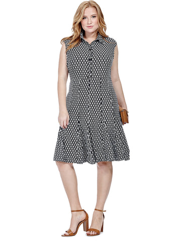 Button Front Dress In Honeycomb