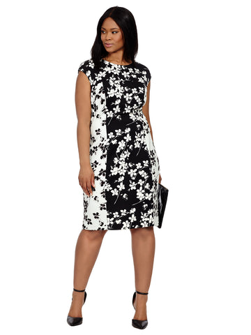 Sheath In Mirrored Floral Print