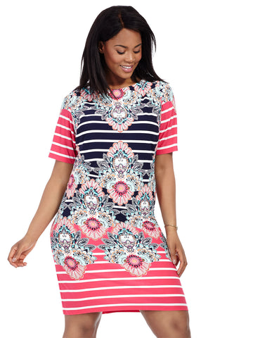 Kaleidoscope Print Striped Dress
