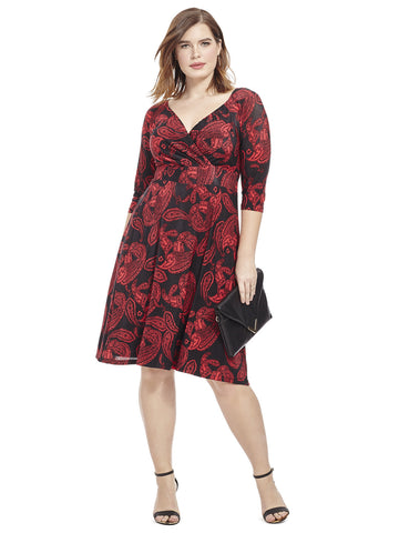 Alex Dress In Paisley Red