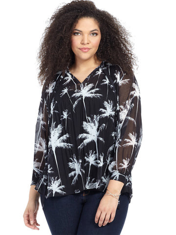 Alula Blouse In Palm Print
