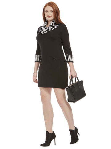 Sweater Dress With Zigzag Print