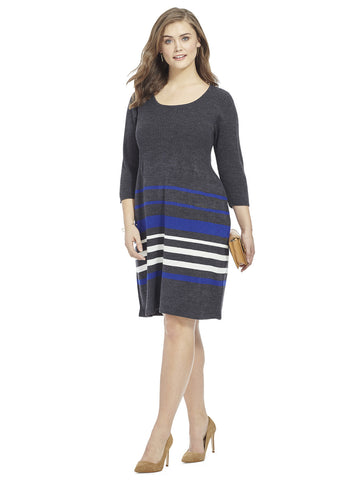 Sweater Dress In Sapphire Stripe