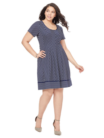 Dress In Navy Chevron