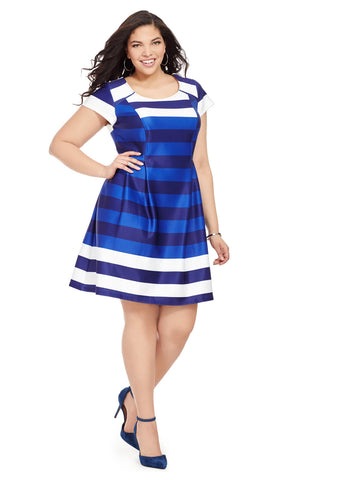 Cap Sleeve Dress In Blue Stripe