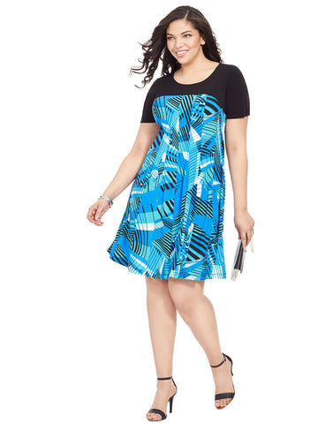 Mixed Geo Print Dress