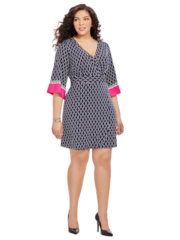Wrap Dress In Chainlink Print