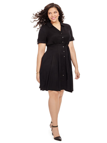 Jet Black Fit & Flare Shirt Dress