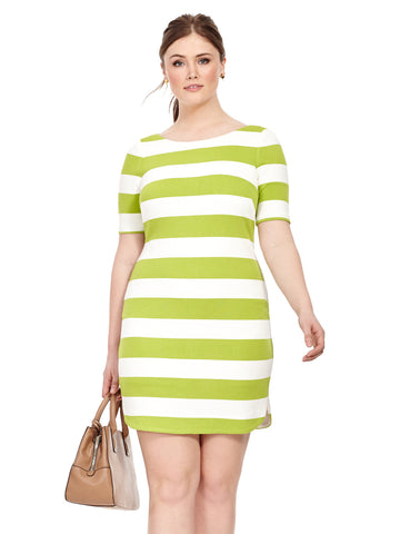 Lime Striped Dress with Contrast Zipper