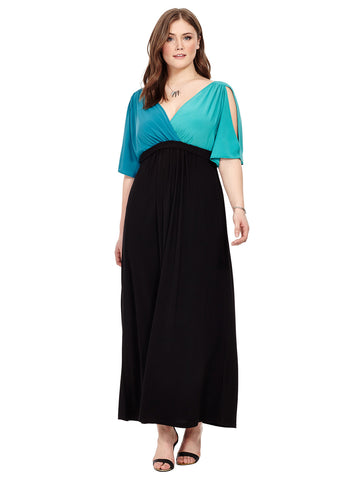 Maxi Dress In Jade & Peacock