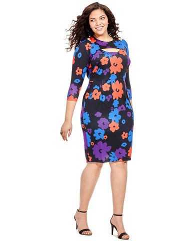 Colorblock Floral Cut Out Dress