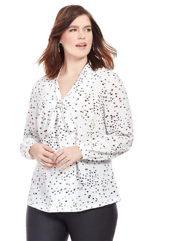 Ditsy Heart Printed Blouse