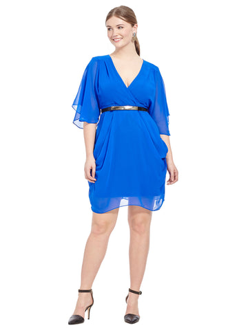 Colour Wrap Dress In Ultra Blue
