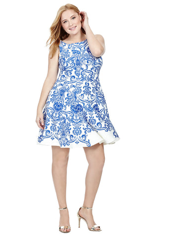 Porcelain Print Scuba Dress