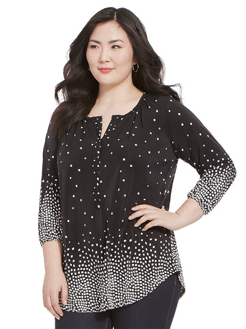 Livia Blouse In Dot Border Print