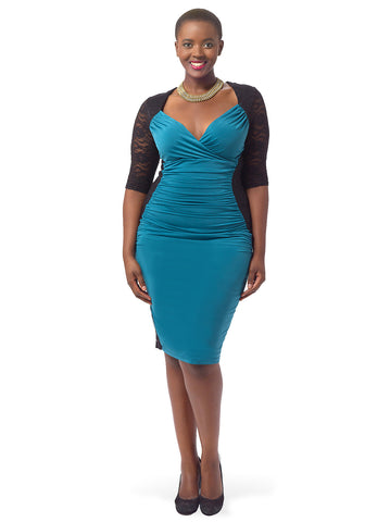 Valentina Illusion Dress In Teal