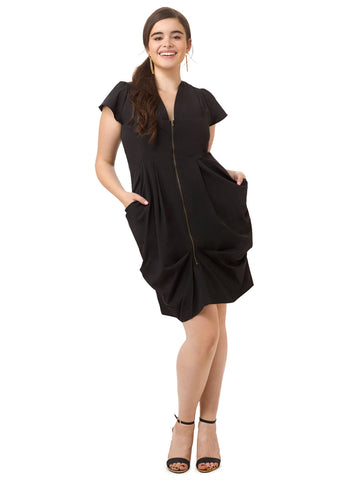Zip Front Tunic Dress In Black