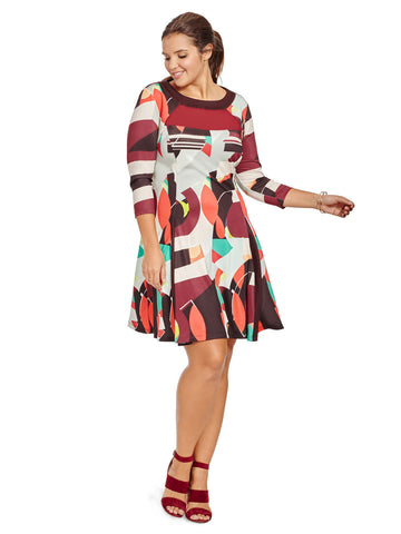 Abstract Printed Sheer Inset Dress