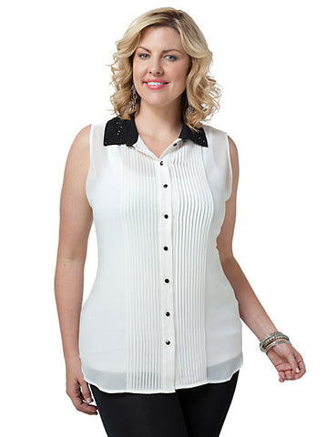 Studded Collar Sleeveless Shirt