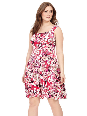 Fit & Flare Dress In Red Floral
