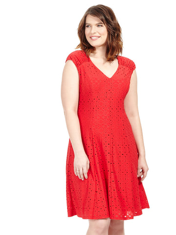 Eyelet V-Neck Dress In Red