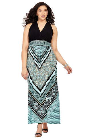 Scarf Print Dress In Black & Aqua