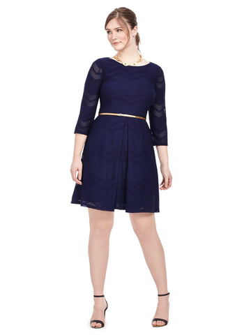 Navy Belted Dress In Mesh Chevron
