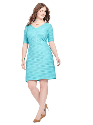 Stripe Knit Dress In Aqua