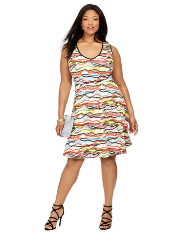 Abstract Printed Juliet Dress