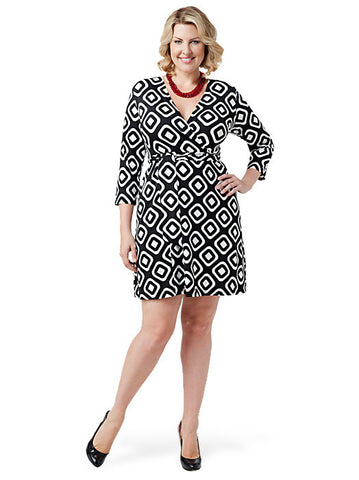Geometric Faux-Wrap Dress