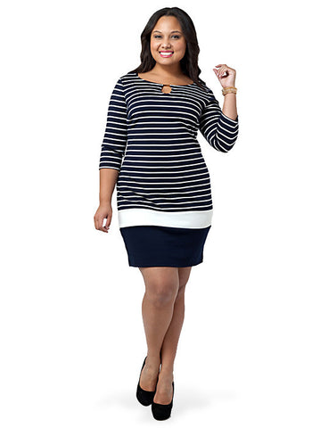 Striped Colorblock Sheath Dress
