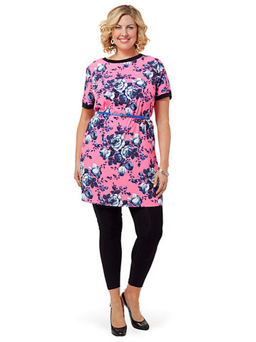 T-Shirt Dress In Bright Floral Print