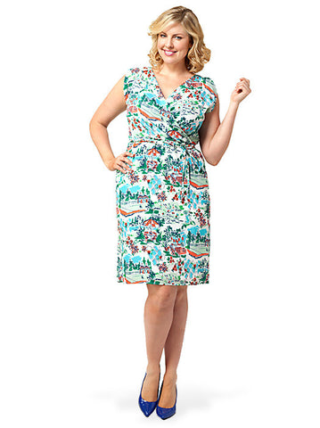 Surplice-back Dress In Print
