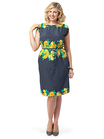 Surplice-back Dress In Navy Floral