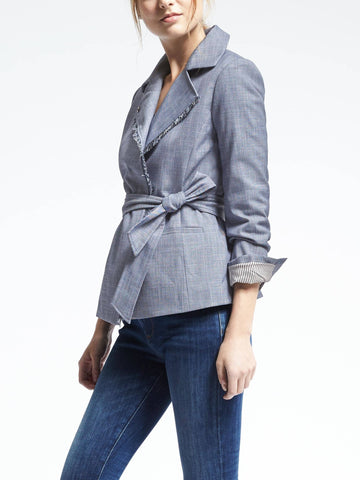 Chambray Belted Wrap Jacket