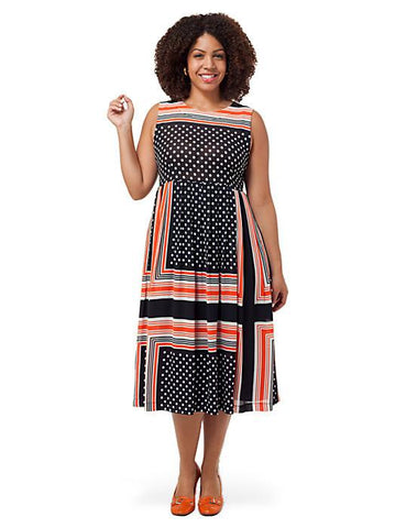 Midi Dress In Spot And Stripe Print