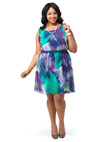 Feather Print A-line Dress