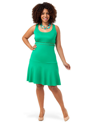 Exposed Zip Stretch Dress Green
