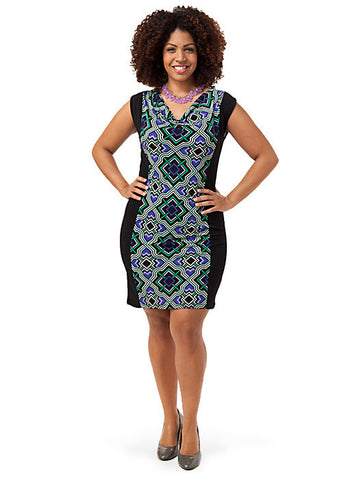 Cowl-Neck Printed Dress
