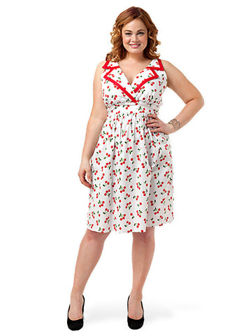 Lizzie Collar Dress In Red Cherry Print