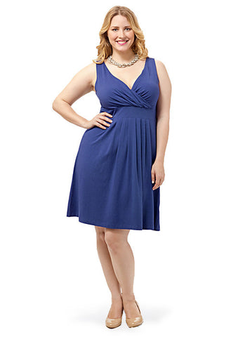 Solid Fit and Flare Dress In Navy