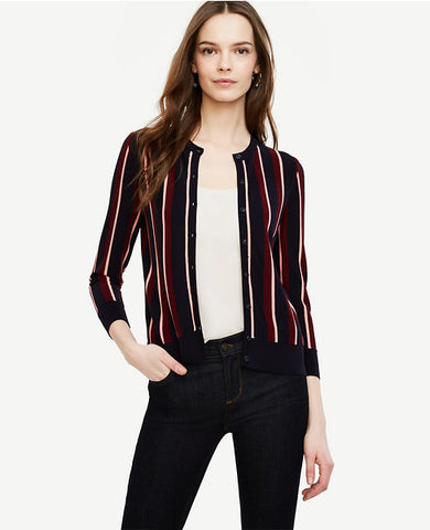 Striped 3/4 Sleeve Ann Cardigan